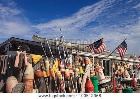 Buoys on a Cape Cod fishing shack