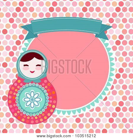 Russian dolls matryoshka on white background, pink and blue colors, vintage card with pink polka dot