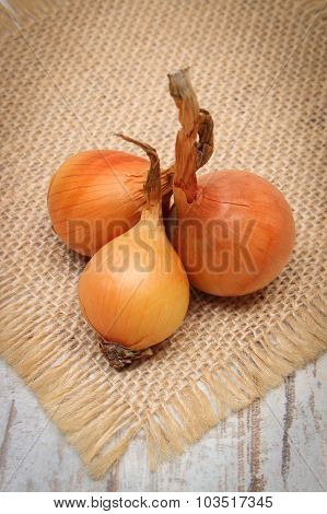 Fresh organic onions on jute canvas on old wooden background healthy nutrition and strengthening immunity poster
