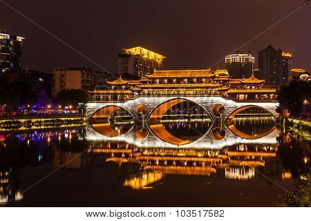 Night View Of Anshun Bridge In Chengdu