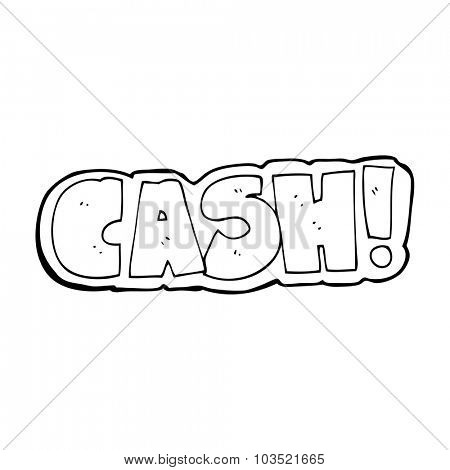simple black and white line drawing cartoon  cash symbol
