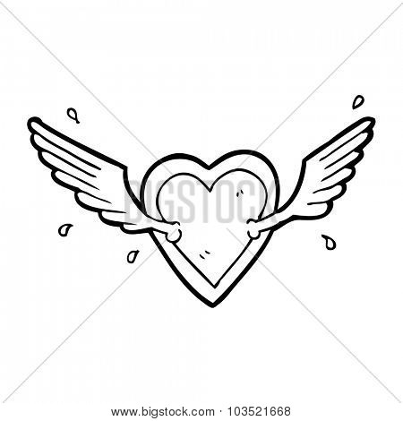 simple black and white line drawing cartoon  flying heart