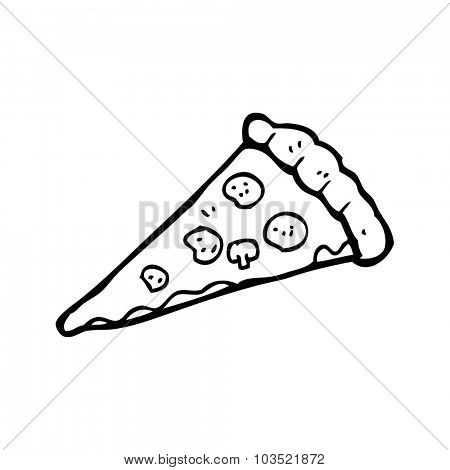 simple black and white line drawing cartoon  pizza