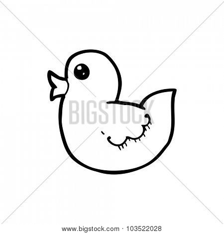 simple black and white line drawing cartoon  rubber duck