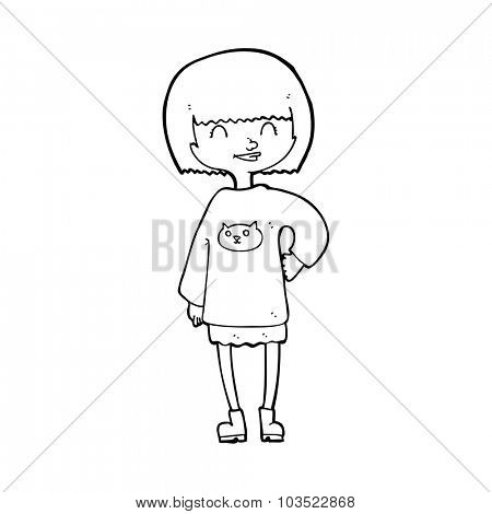simple black and white line drawing cartoon  happy girl