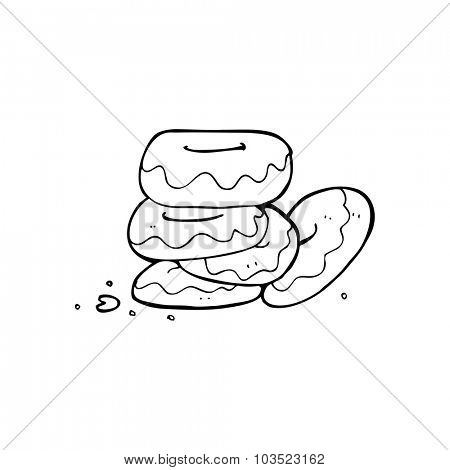 simple black and white line drawing cartoon  pile of donuts