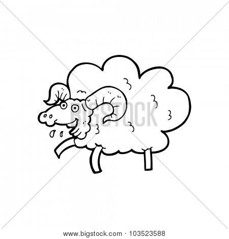simple black and white line drawing cartoon  sheep