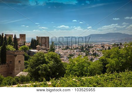 View To Granada City From Alhambra, Andalusia, Spain