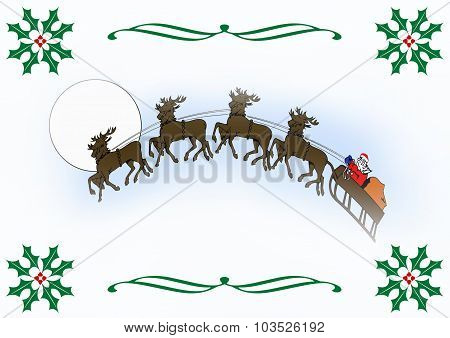 Santa And Reindeer With Holly Border