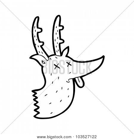 simple black and white line drawing cartoon  deer head