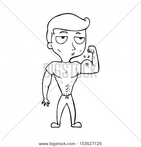 simple black and white line drawing cartoon  gym man