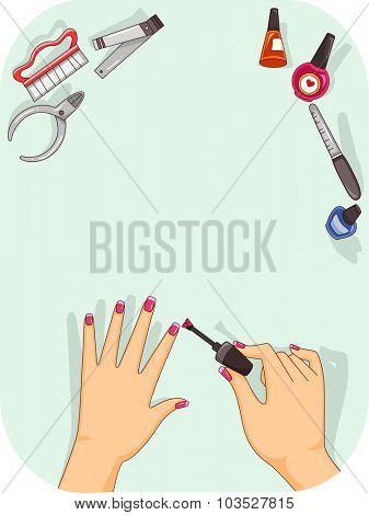Illustration of a Woman Applying Nail Polish on Her Fingernails
