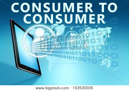 Consumer to Consumer illustration with tablet computer on blue background poster