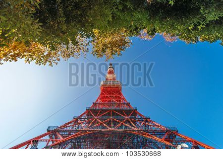 Tokyo Tower In The Blue Sky Day