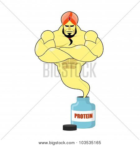 Protein Strong Genie. Genie Departs From Banks With Sports Nutrition. Mythical Man With Big Muscles.