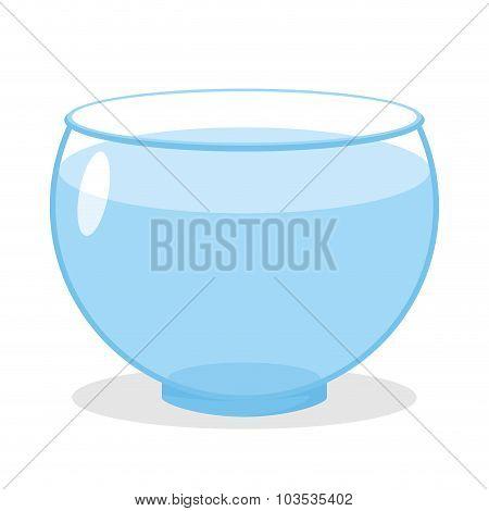 Aquarium With Water. Transparent Glass Tank For Fish Content. Vector Empty Aquarium