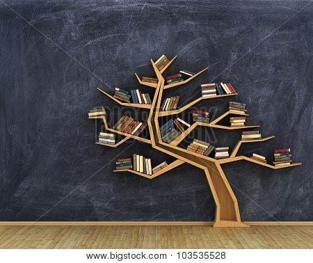 Concept Of Science. Bookshelf Full Of Book In Form Of Tree On A Whiteboard.