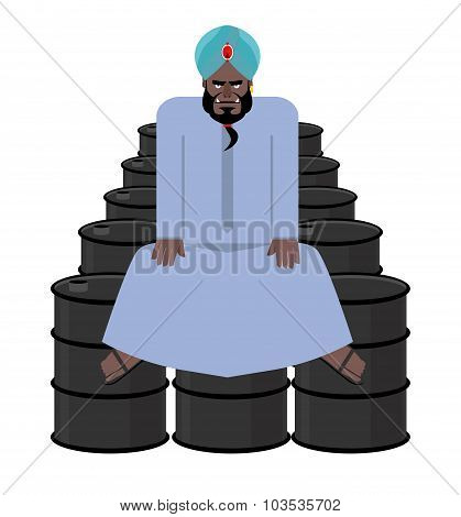 Sheikh Sits On  Barrels Of Oil. Wealth Of  Sultan. Arabic Man Has Treasure Of Oil.