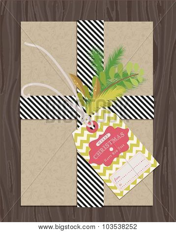 present package wrapped with gift tag