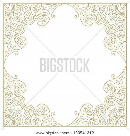 Vintage gold background, ornamental hand draw vector frame with lace borders