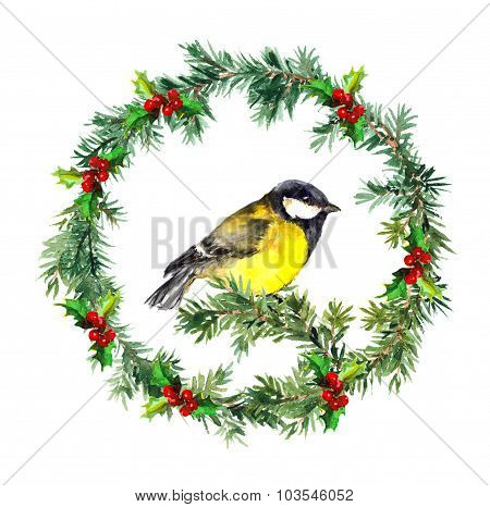 New year wreath - fir, mistletoe and tit bird. Watercolor