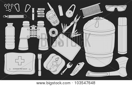 Set of survival camping equipment. Chalk