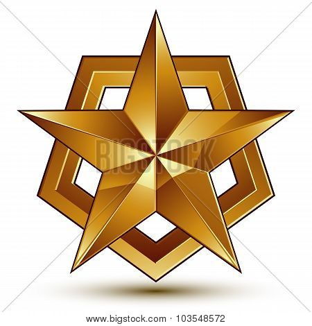 Heraldic 3D Glossy Icon Can Be Used In Web And Graphic Design, Five-pointed Golden Star, Clear Eps8