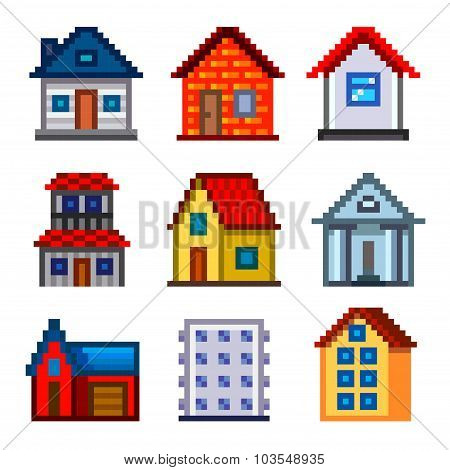 Pixel Houses For Games Icons Vector Set