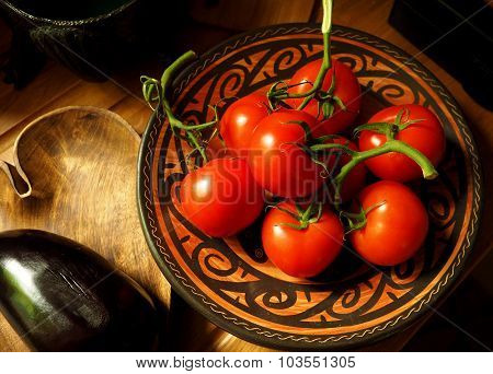 Red Tomatoes in a Mexican Pottery Bowl