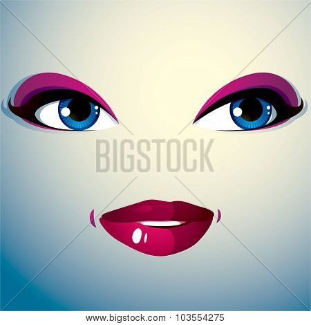 Parts Of The Face Of A Young Beautiful Lady With A Bright Make-up. People Facial Expression