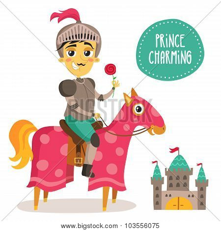 Illustration of a funny knight on a horse - Prince Charming - with a flower and small castle isolated on white poster