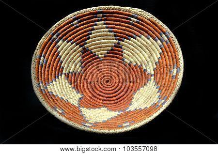 Native American Indian Basket on a Black Background