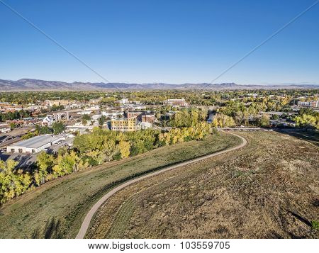aerial view of a bike trail along the Poudre River and Fort Collins downtown, Colorado
