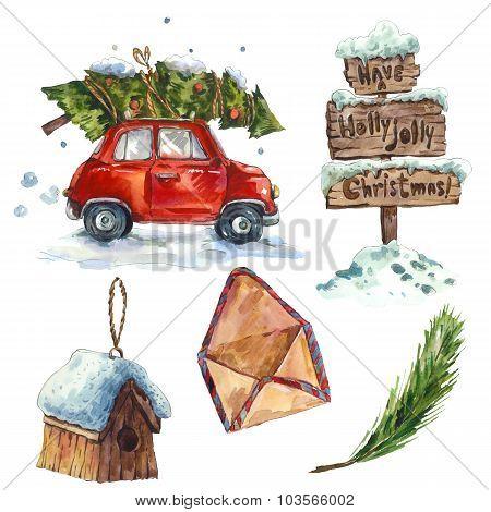 Watercolor vintage Christmas set, holiday illustration