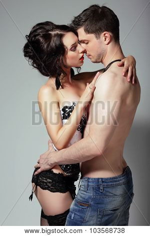 Sensuality. Young Couple Hugging