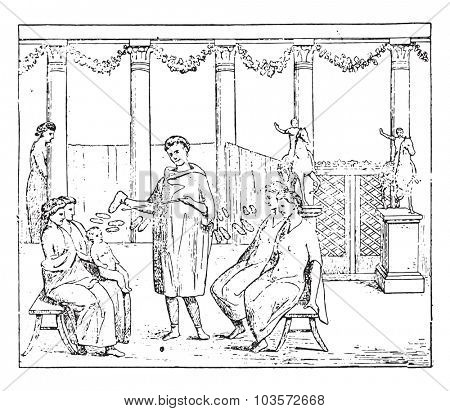 Roman merchants, vintage engraved illustration.