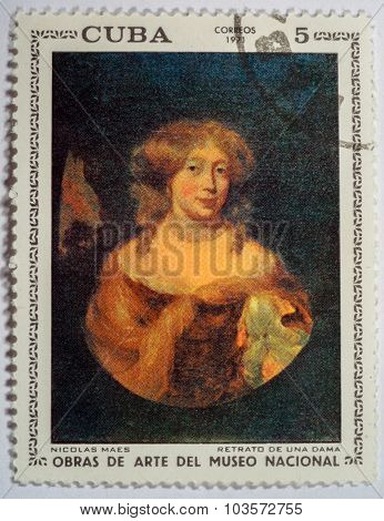 Moscow, Russia - October 3, 2015: A Stamp Printed By Cuba Shows A Picture Of Artist Nicolas Maes