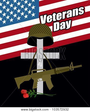 Day Of Remembrance For War Veterans. Veterans Day. Cross With  Soldiers Helmet And  Machine Gun. Fal