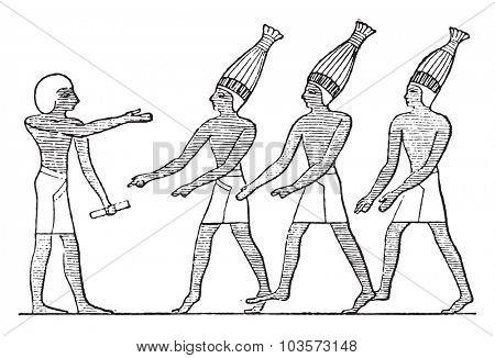 Egyptian buffoons, vintage engraved illustration.