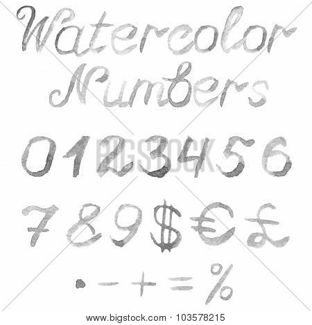 Hand drawn watercolor numbers
