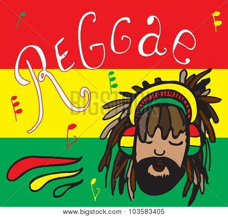 reggae rastaman in headphones