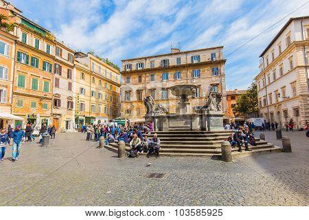 Piazza Of Trastevere In Rome, Italy