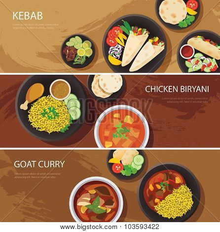 Halal Food Web Banner Flat Design , Kebab, Chicken Biryani, Goat Curry