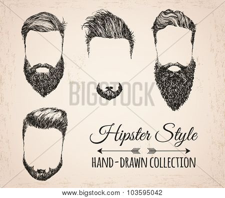 Hipster fashion vintage elements hand-drawn collection. Hipster hair, beards, mustaches.