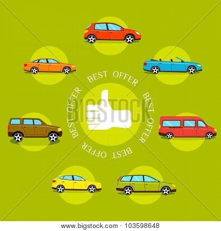 Cars best offers concept. Flat style design quality control concepts with thumb up label and cars. O