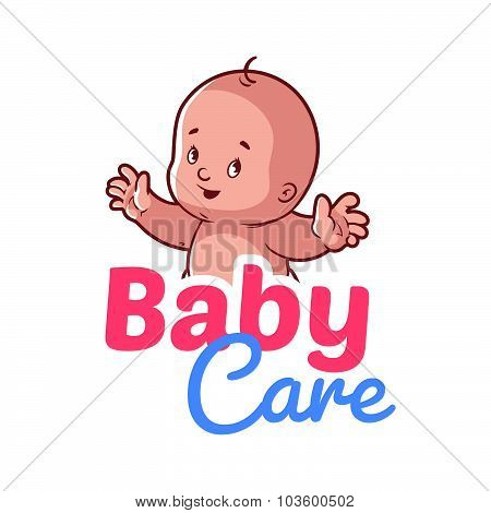 Cute Toddler. Baby Care Logo