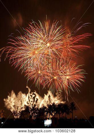 Landscape of fireworks exploding in Bangkok city poster