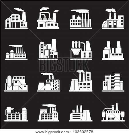 Set of industrial manufactory buildings icons set. Plant and factory, power and smoke, oil and energ