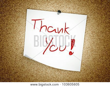Note Thank You Message On Cork Board