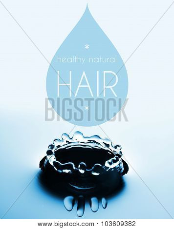 Healthy Natural Hair With Water Drop And Splash